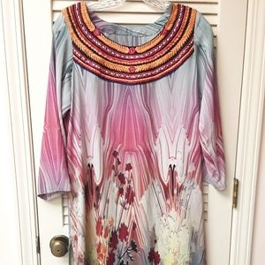 Tribal Abstract Pastel Marble Dress M L